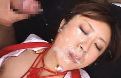 Asian babe Nana becomes a Bukkake Angel