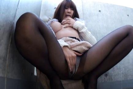 Busty Babe Momoka Nishina Rubs A Vibrator On Her Clit