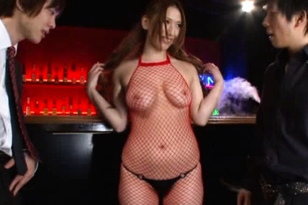 Ai Sayama Entices Two Guys To Fuck Her While In Fishnets