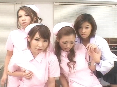 Naughty Asian nurses having a big tit orgy in the hospital
