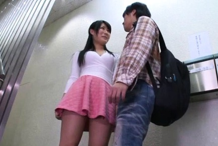 Busty teen girl in a pink mini skirt Chigusa Hara enjoys stand fucking