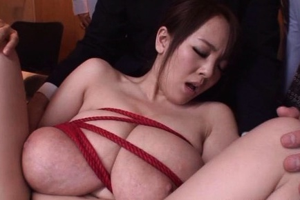 Asian babe with huge tits, Hitomi  gets rough group sex